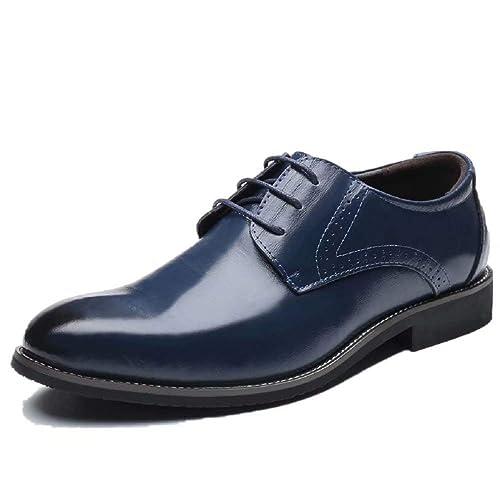Zapatos Oxford Hombre, Brogue Cuero Boda Negocios Calzado Vestir Cordones Derby Negro Marron Azul Rojo Amarillo 37-48EU