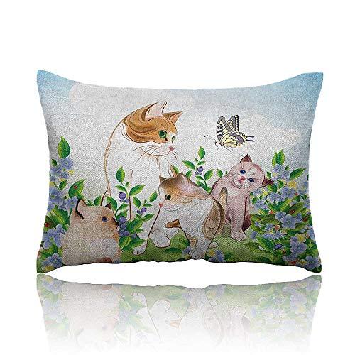 - Anyangeight Cat Mini Pillowcase Cute Kittens in Flower Meadow Field Happy Cats Family with Butterfly Kids Cartoon Print Fun Pillowcase 20