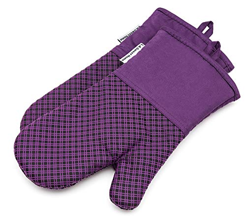 ne Oven Mitts Plaid Heat Resistant Cooking Gloves Non-Slip Grip Pot Holders for Kitchen Oven, BBQ Grill and Fire Pits Ideal for Cooking, Baking 7x13 inch 1 Pair (Purple) ()