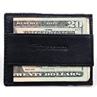 Alpine Swiss Genuine Leather Super Thin Slim Cash Strap Front Pocket Wallet