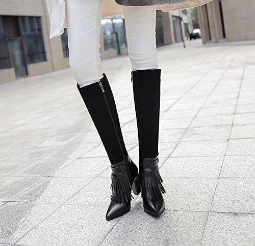 Latasa Womens Tassel Pointed Toe High Heel Tall Boots Black 2nHjrL