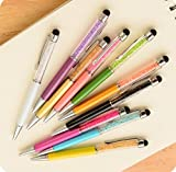 Ballpoint pen 10 Pcs different color/Pack with crystal fashion design Black Refill