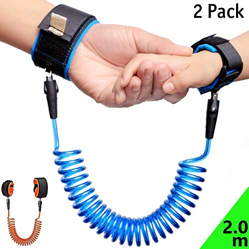 2 Pack Child Anti Lost Wrist Link, 6.56ft(2.0M) Toddler Harness Walking Leash, Safety Wrist Leash for Toddlers & Kids ( Blue and Orange)