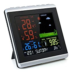Thermometer Hygrometer, KKmoon Wireless Weather Station Color LCD Weather Forecast Clock Indoor Outdoor Barometer with Backlight Snooze Air Pressure Moon Phase Alarm Clock Calendar Function