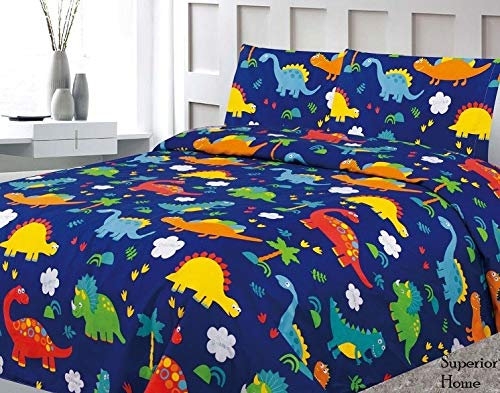 3 Piece Twin Size Dinosaurs Theme Print Sheet Set with Fitted, Flat and 1 Pillow Case, Blue Green Boys Kids Bedding Sheet Set, Twin Sheet Dinosaur