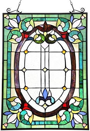 Capulina Handcrafted Victorian Color Stained Glass Window Hanging Panel with Chain – Tiffany Style Window Panel W18 x H25 Inches