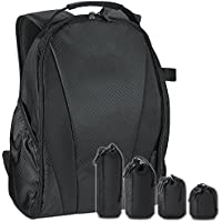 Camera Backpack Bag for DSLR Camera with 4 Pack Lens Pouch Set - Professional Storage and Protection for Your Camera Accessories - Lightweight & Great for Travel, Black