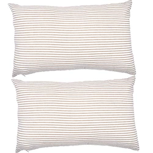 JES&MEDIS Set of 2 Pillowcase Cotton Striped Decorative Rectangular Throw Pillow Covers for Home Car Office Club Lumbar 12 x 20 Inches 50 x 30 cm Beige and White ()