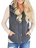 Imily Bela Women's Chunky Corduroy Sleeveless Jacket Quilted Padding Zip Up Vest Coat Dark Grey