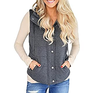 Imily Bela Women's Chunky Corduroy Sleeveless Jacket Quilted Padding Zip Up Vest Coat