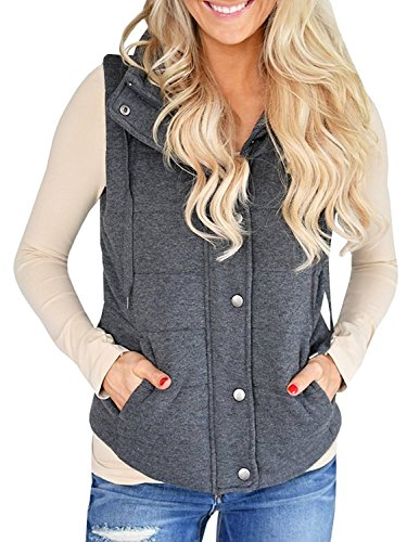 Imily Bela Women's Chunky Corduroy Sleeveless Jacket Quilted Padding Zip Up Vest Coat Dark Grey (Puffy Vest)