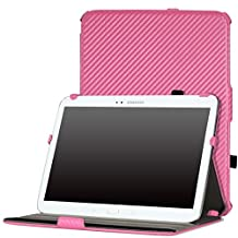 MoKo Samsung Galaxy Note 10.1 2014 Edition Case - Slim-Fit Multi-angle Stand Case for Note 10.1 Inch 2014 Edition Tablet, Carbon Fiber PINK (With Smart Cover Auto Wake / Sleep)