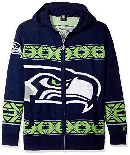 Seattle Seahawks Full Zip Hooded Sweater Large