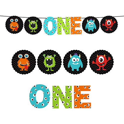 Monster Bash Decorations 1st Birthday Monster One Banner for Boys or Girls Little Monster High Chair Banner Decorations]()