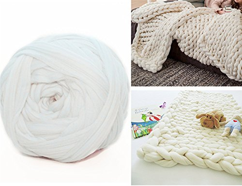 Arm Knitting Yarn Chunky Wool Yarn Bulky Wool Yarn Giant Knit Yarn Extreme Knitting (0.55lbs/250g, White) ()
