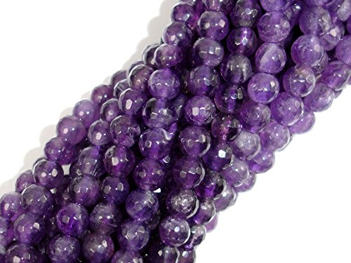 jennysun2010 Natural Amethyst Gemstone 2mm Faceted Round Loose Beads Length 15.5'' Inches (38.5cm) 1 Strand per Bag for Bracelet Necklace Earrings Jewelry Making Crafts Design Healing