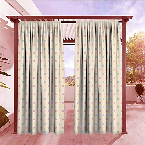 (Outdoor Patio Curtains Polka Dots Home Decor Collection Retro Polka Dots Small Coin Sized Little Spots Old Epochs Fashion Pattern Waterproof Patio Door Panel W96x84L Cream Blue Pink)