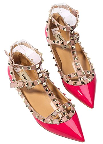 CAMSSOO Comfortable Shoes Pumps Toe Buckle Metal Patant Studs Dress Flats Women's fushia PU Strappy Pointy aw8aqrpSx