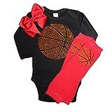 Rhinestone baby girls basketball black outfit, red crystal leg warmers & bow