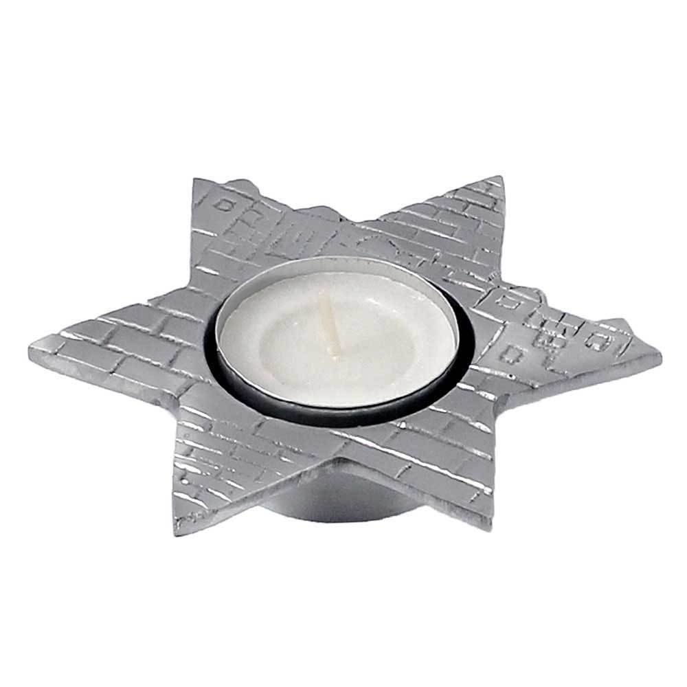Zion Judaica Aluminum Tea Light Candle Holder Jerusalem Star of David