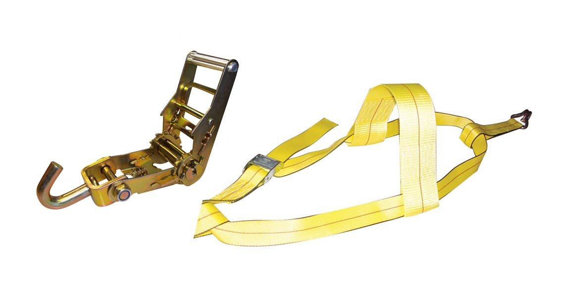 Erickson 58522 Adjustable Ratchet Yellow Tire Strap with J Hooks