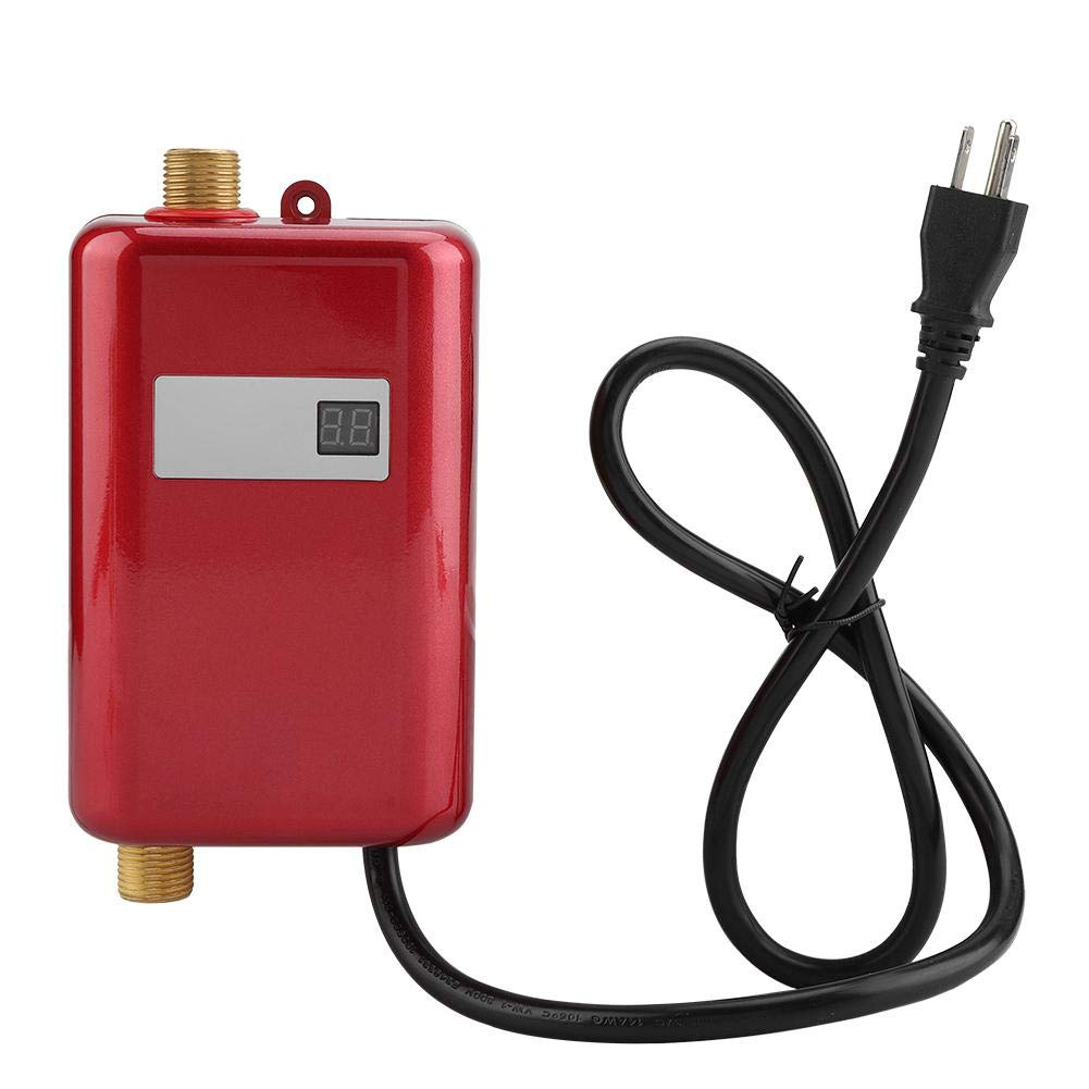Hot Water Heater,110V 3000W Mini Electric Tankless Instant Hot Water Heater for Home Bathroom Kitchen Washing (Red)