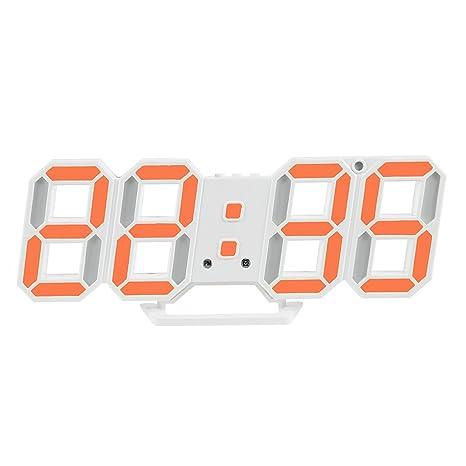 Shuangklei Reloj Despertador Digital Led Electrónico Moderno Mostrador De Pared Reloj De Sobremesa Con Luz Nocturna