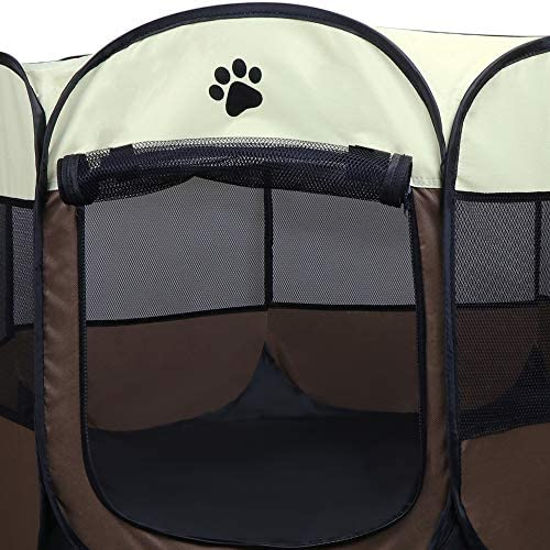 Coolty Parc à Chiots Chien, Chien Pliable Tente pour Chiens Chats Lapins et Petits Animaux(Marron,S)