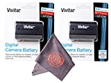2 Pack of LP-E6 / LP-E6N Vivitar Ultra High Capacity Rechargeable 2000mAh Li-ion Batteries + Microfiber Lens Cleaning Cloth LPE6 (Canon LP-E6 Replacement)