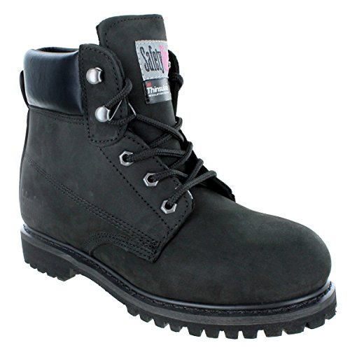 Safety Girl GS005-Black-8M Insulate Work Boot II- Black Steel Toe 8M, English, Capacity, Volume, Leather, 8M, Black () -