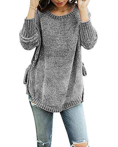 Crewneck Sweater Cable Maternity - Womens Pullover Sweaters Plus Size Cable Knit Crew Neck Long Sleeve Split Side Tie Knot Fall Jumper Tops Grey
