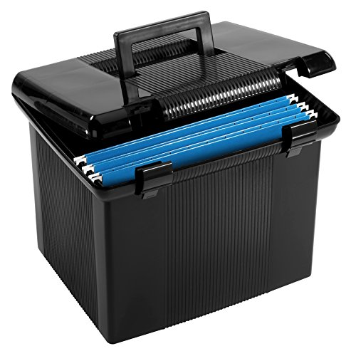 Pendaflex Portable File Box, Black, 11'H x 14' W x 11-1/8' D (41742)