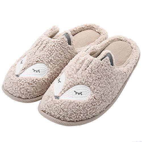 Womens Cute Animal Slippers Soft Fleece Plush Home Slippers Slip On Memory Foam Cotton Clog House Slippers, Beige, US Women 8-9.5 / Men 7.5-9