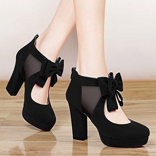 KHSKX-Zapatos De Moda Zapatos De Tacon Zapatos De Primavera De Malla Transpirable Bow Out black
