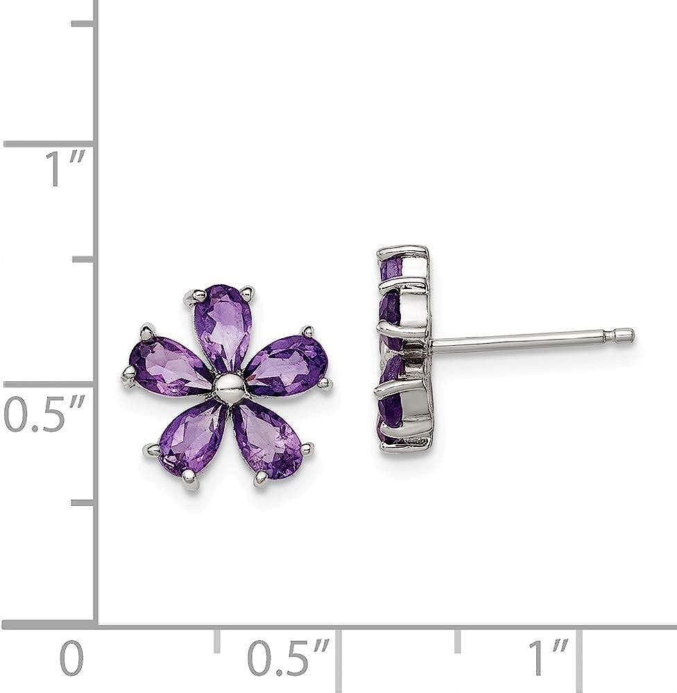 Solid 925 Sterling Silver Polished 3-Flower Post Stud Earrings