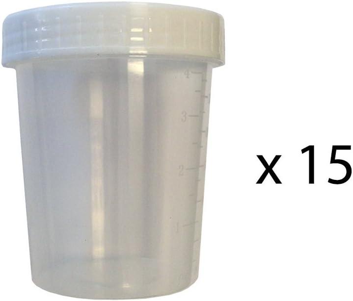 Pack de 15 Botes Esteriles para Recoger Muestras de Orina Sangre Heces - con Tapon de Rosca - 125 ml de Capacidad