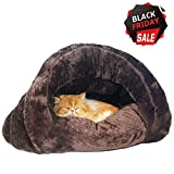 Make you perfect Self-Warming Cat Bed Cozy Cave Covered Dog Bed for Small Dogs Heated Cat Bed Indoor Pet Triangle Nest Review