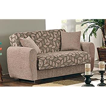 BEYAN Chestnut 2016 Collection Living Room Convertible Storage Loveseat  With Storage Space, Includes 2 Pillows, Dark Brown