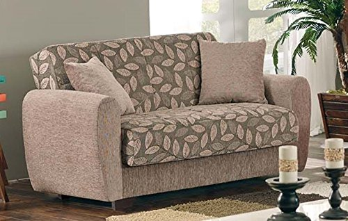 - BEYAN Chestnut 2016 Collection Living Room Convertible Storage Loveseat with Storage Space, Includes 2 Pillows, Dark Brown
