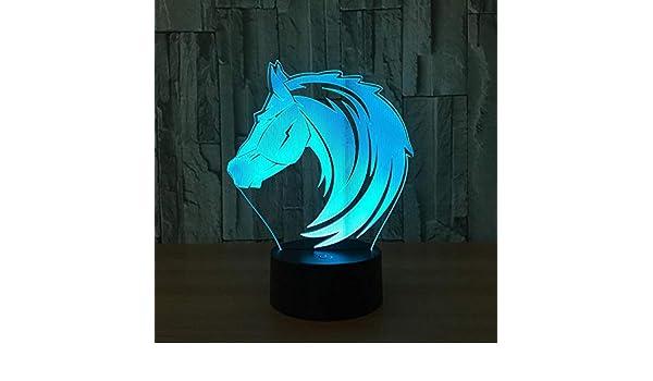 Amazon.com: QQWE Nuevo Caballo 7 Colores búho lámpara 3D ...