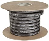 Palmetto 1389 Series 100% GFO Expanded PTFE with Graphite Compression Packing Seal, Dull Black, 1/4'' Square, 5' Length
