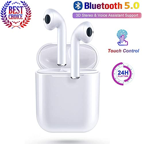 Bluetooth 5.0 Wireless Earbuds Noise Canceling Sports 3D Stereo Headphones with 22Hr Playtime IPX5 Waterproof, Pop-ups Auto Pairing, Built-in Binaural Mic Headset for Android iPhone Apple Airpods