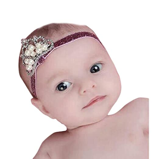 Crown hair band Princess Baby Girl Crystal Pearl Crown Hairband C