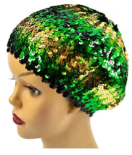 (Love My Seamless Women's Stretchy Spangle Sequins Covered Beret Hat (One Size, Green))