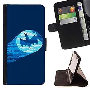 BAT CHARACTER COMIC FUNNY SIGNAL CARTOON/ Personalizada del estilo del dise???¡Ào de la PU Caso de encargo del cuero del tir????n del soporte d - Cao - For Apple Iphone 5C