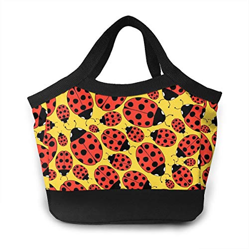 Lunch Box Totebox Non-Toxic Polyester Lunch Organizer Reusable Storage Bag Container Ladybug Snack Bag for Women Men Kids Girl Boy, Work School Picnic Beach
