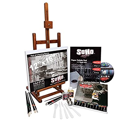 SoHo Urban Artist Deluxe 49 Piece Really Complete Painting Set-Includes Table Easel, Paints, Brushes, Palette Paper, Cups And Instructional DVD