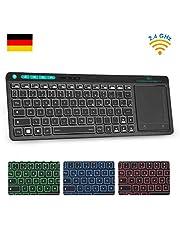 Rii K18 Plus Kabellose TV-Tastatur mit Touchpad, Office Tastatur, 2.4G Multimedia Tastatur mit 3 LED Hintergrundbeleuchtung für Smart TV HTPC PC Tablet Google Windows Android (Deutsch Layout,Schwarz)
