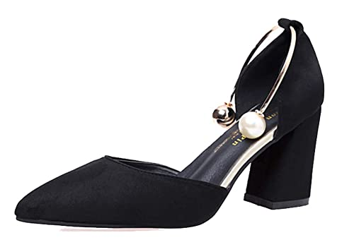 Chunky Mid Heels Faux Suede Slip On SHOWHOW Womens Trendy Pointed Toe Pumps
