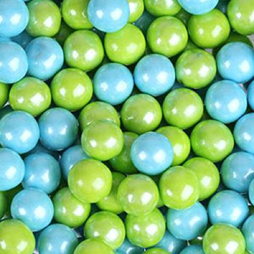 Mini Chocolate Balls (Powder Blue & Lime Green Shimmer Pearl Sixlets Mini Milk Chocolate Balls 5LB Bag by Sixlets)